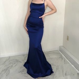 SHERRI HILL blue elegant prom dress